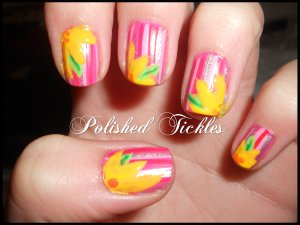 Pink Stripe Mani With Flowers