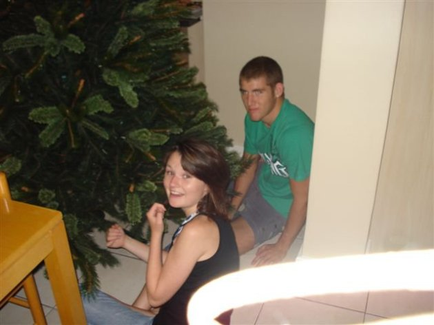 Our First Christmas, busy decorating the Tree.